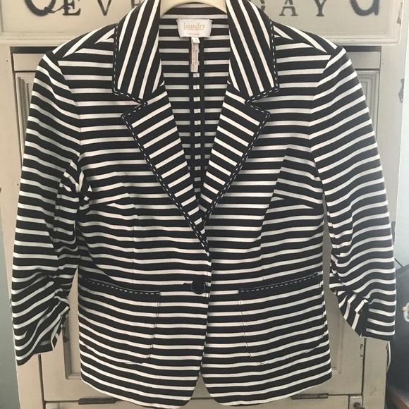 Laundry Black & White Stripe Blazer